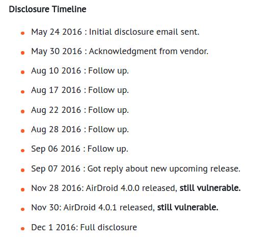 AirDroid-Entwickler wissen seit Ende Mai Bescheid
