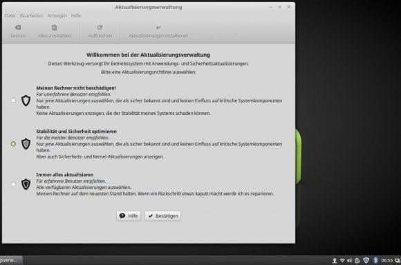 Linux Mint 18.1: Aktualisierungsverwaltung