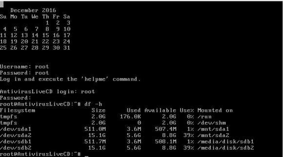 Antivirus Live CD hat alle Laufwerke eingebunden