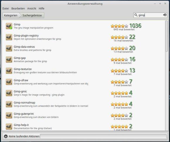 Linux MInt 18.1: Anwendungsverwaltung GIMP