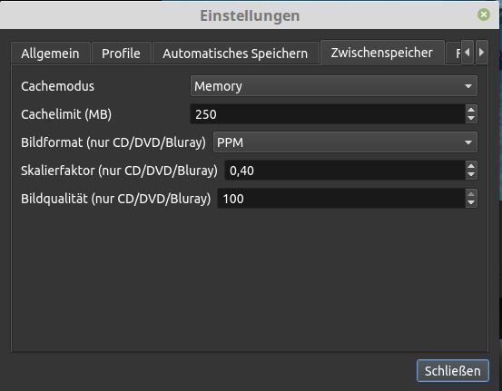 OpenShot 2.2: Cache einstellen