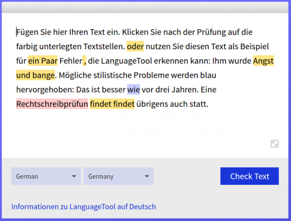 Die Online-Version von LanguageTool verwendet immer die aktuellsten Regeln