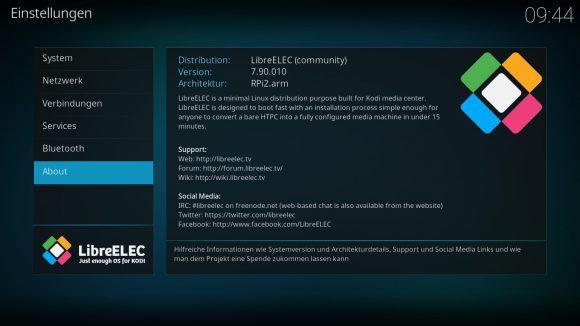 LibreELEC 7.90.010 läuft
