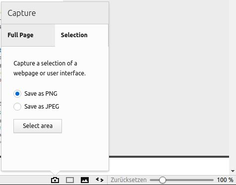 Vivaldi 1.7 mit Screenshot-Funktion - nur einen Bereich