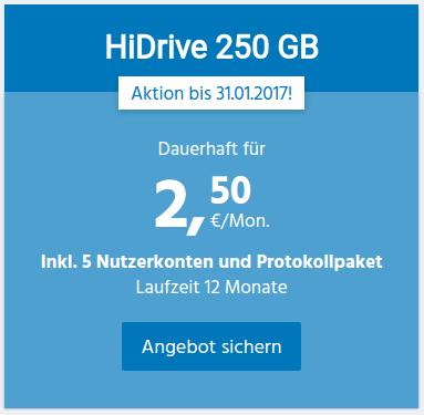 250 GByte HiDrive Storage für 2,50 Euro - inklusive Protokollpaket