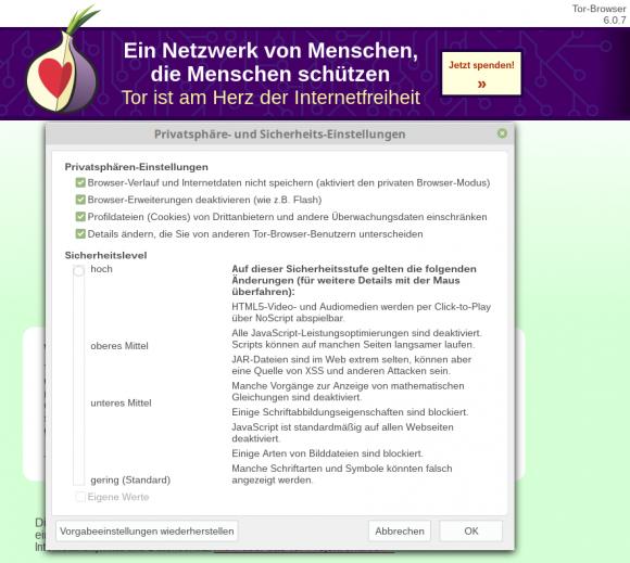 Tor Browser 6.0.7 mit Sicherheitsstufe hoch