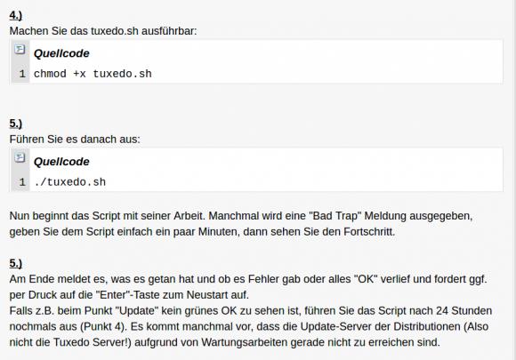 Das Script tuxedo.sh hilft bei der Installation spezieller Treiber
