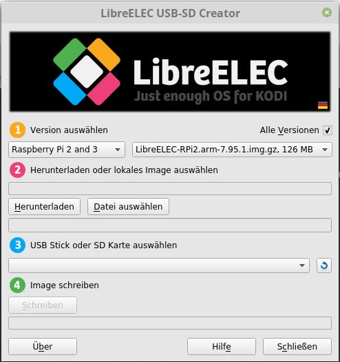 LibreELEC 7.95.1 oder LibreELEC 8 Beta 1 via LibreELEC USB-SD Creator installieren
