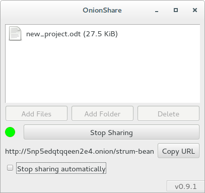 Onion Share für anonymes File Sharing (Quelle: tails.boum.org)