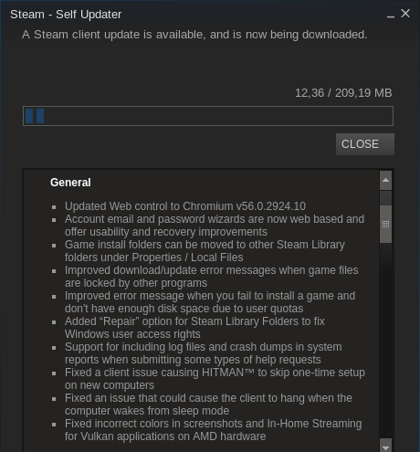 Update für den Steam Client