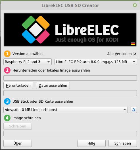 LibreELEC 8 installiert sich am einfachsten über den LibreELEC USB-SD-Creator