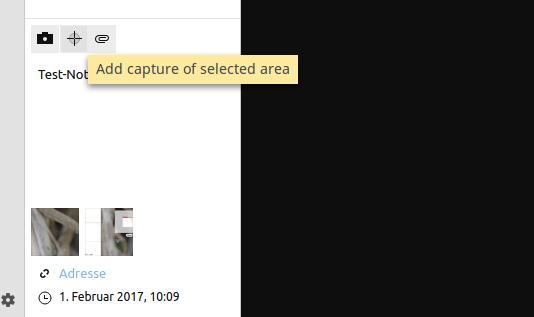 Schnappschuss-Bereich zu den Notizen hinzufügen