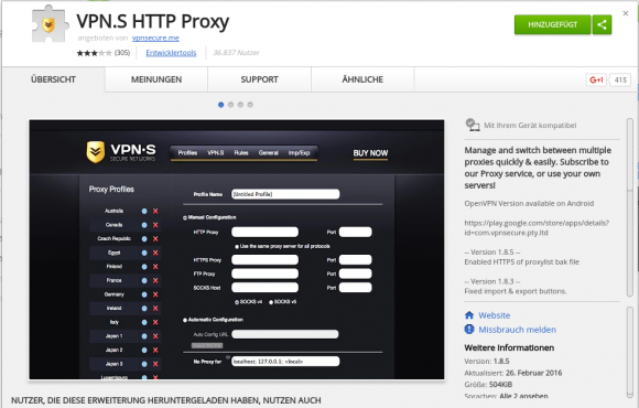 Chrome Extension von VPNSecure