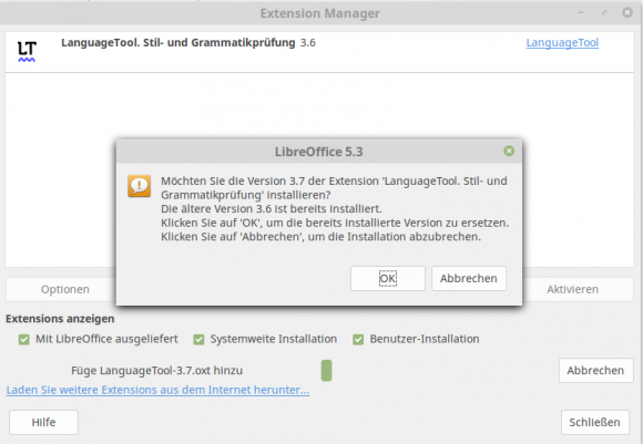 LanguageTool 3.7 ersetzt die ältere Version 3.6