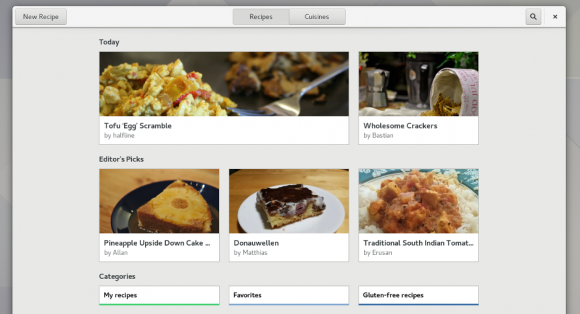 Rezepte in GNOME 3.24 (Quelle: gone.org)