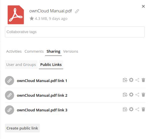 ownCloud X und beliebig viele Public Links (Quelle: ownCloud.com)