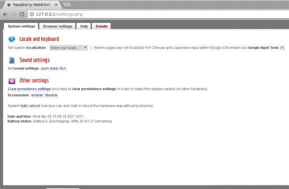 Raspberry WebKiosk 6 - Administration