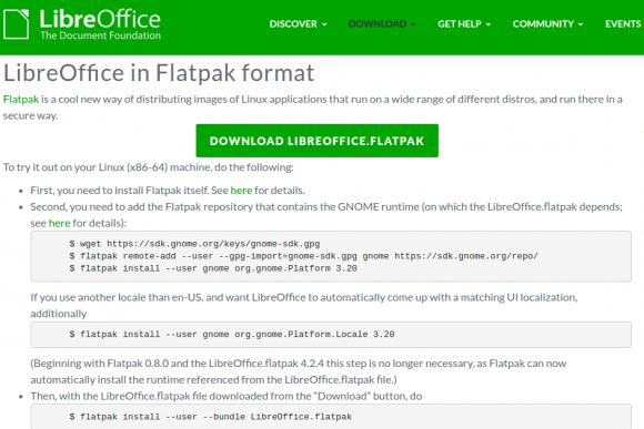 LibreOffice 5.3.3 lässt sich auch als Flatpack installieren