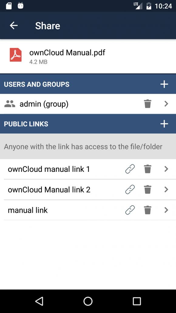ownCloud App 2.4.0 unterstützt mehrere öffentlichen Links (Quelle: owncloud.org)