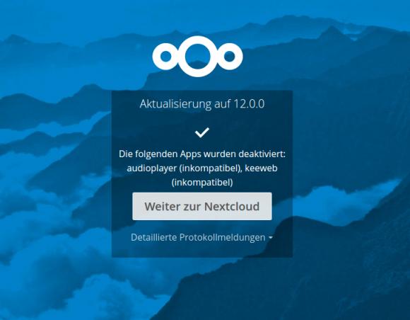 Upgrade auf Nextcloud 12 ist abgeschlossen