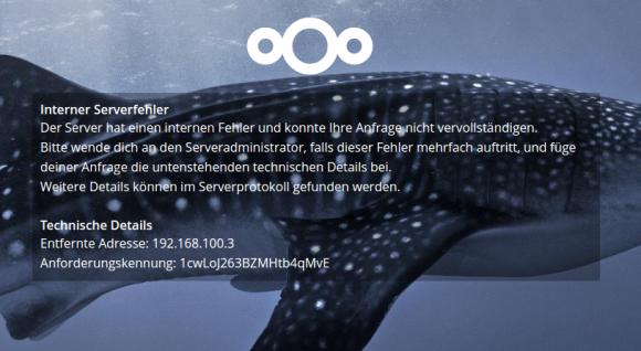 Nextcloud meldet einen Server-Fehler