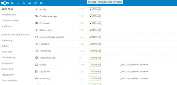 Nextcloud 12 - die Apps sind nun oben in der Leiste