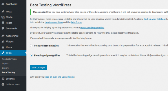 WordPress 4.8 RC kannst Du über das Beta-Tester-Plugin installieren