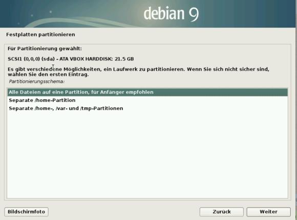 Beim Partitionieren schlägt Debian 9 mehrere Varianten vor