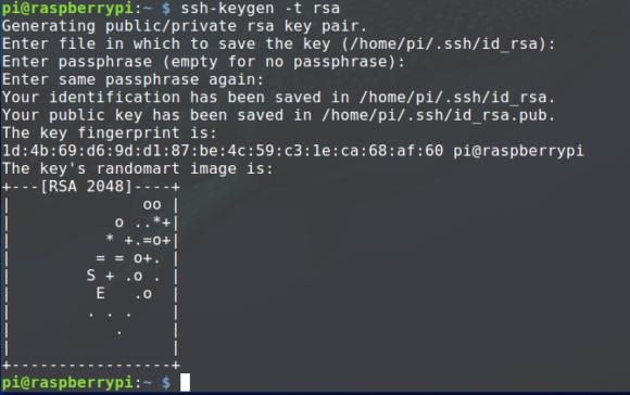 Auf dem Raspberry Pi für das Backup einen Schlüssel erstellen