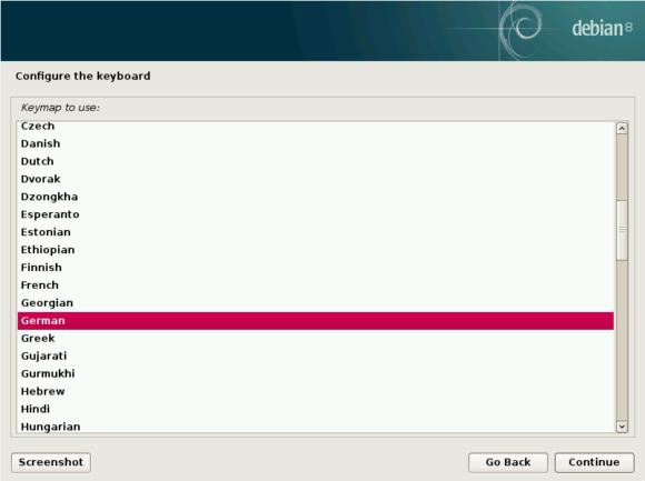 Raspbian für x86: Sprache