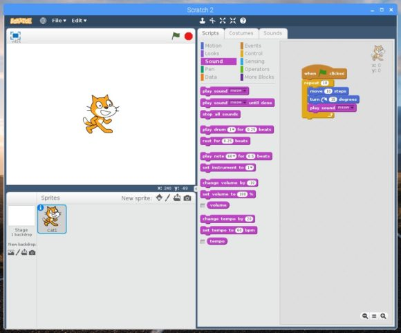 Scratch 2.0 ist nun offline auf einem Raspberry Pi einsetzbar (Quelle raspberrypi.org)