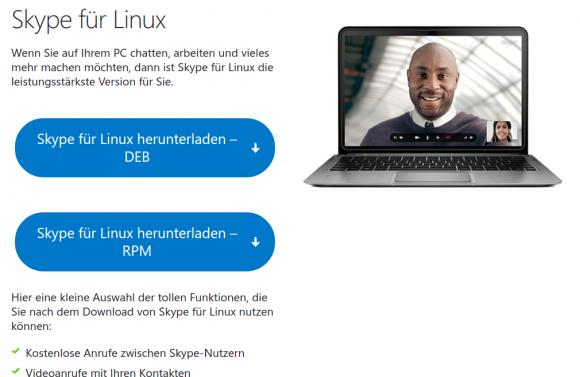 Skype für Linux warnt nicht