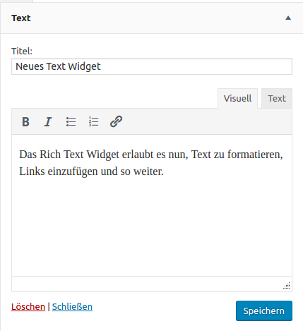 WordPress 4.8 mit einem Rich Text Widget