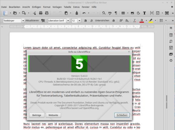 LibreOffice 5.4 ist via PPA verfügbar