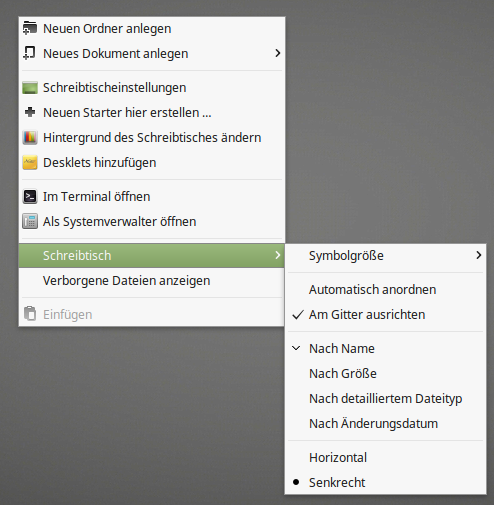 Linux Mint 18.2 mit Cinnamon 3.4: Symbole anordnen