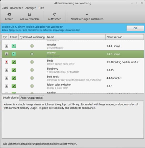 Linux Mint 18.2 Aktualisierungsverwaltung