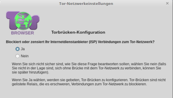 Tor Bridge oder Tor-Brücke im Tor Browser konfigurieren