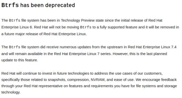 RHEL (Red Hat Enterprise Linux) künftig ohne Btrfs