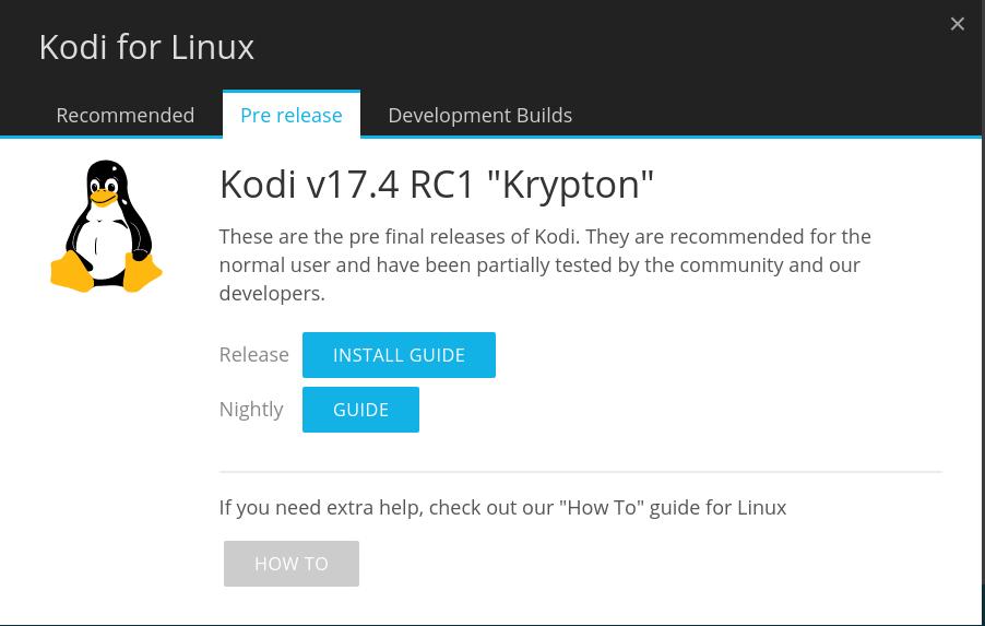 Kodi 17.4 RC1 bessert Fehler aus