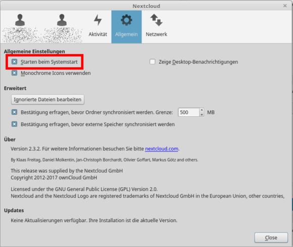 Der Nextcloud Client startet mit Systemstart
