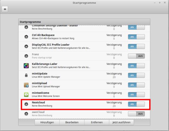 Den Nextcloud Client mit Verzögerung starten