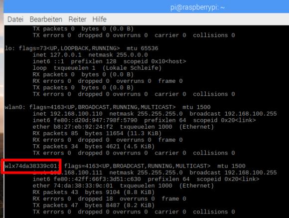 Ohne Kabel am Pi wird aus wlan1 ebenfalls ein wlx+MAC-Adresse