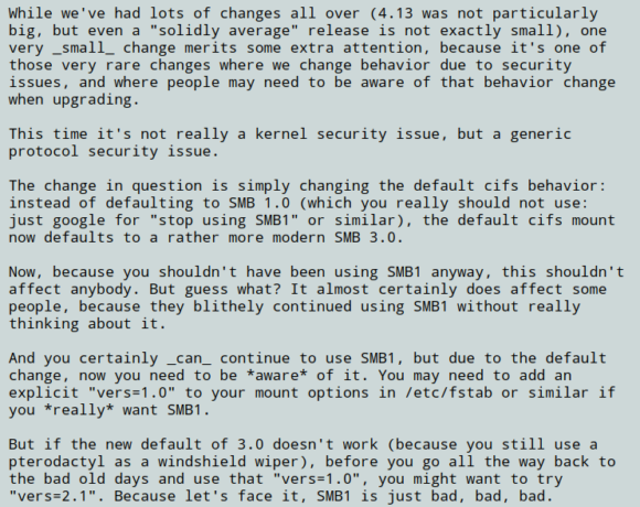 Linux Kernel 4.13 nimmt per Standard SMB 3