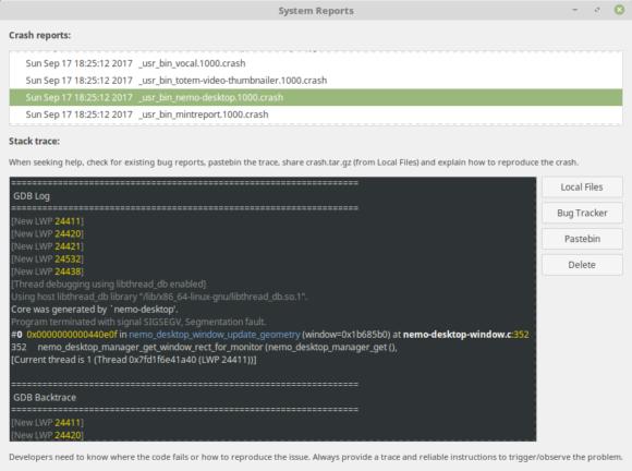 mintReport soll es den Anwendern einfacher machen, Bug-Reports zu schicken (Quelle: linuxmint.com)