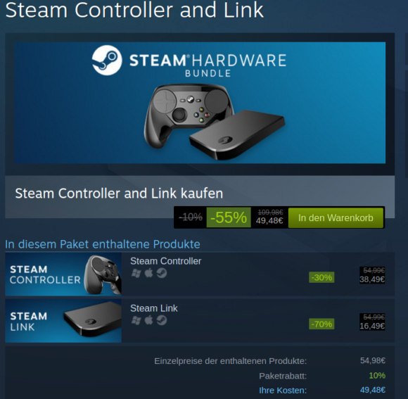 Steam Controller und Steam Link ziemliche reduziert