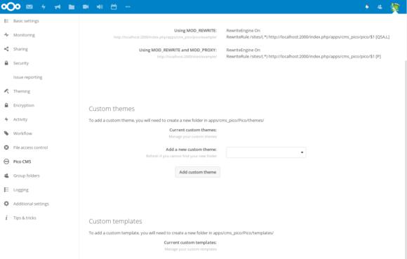 Pico CMS als Admin konfigurieren (Quelle: nextcloud.com)