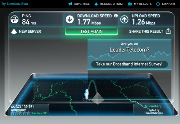 Speedtest von WiFionICE in voller Fahrt
