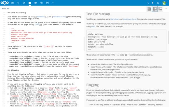 Mit dem Nextcloud Markdaown Editor wird die Verwendung der Pico CMS App komfortabler (Quelle: nextcloud.com)
