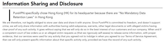 Datenschutzrichtlinien von PureVPN