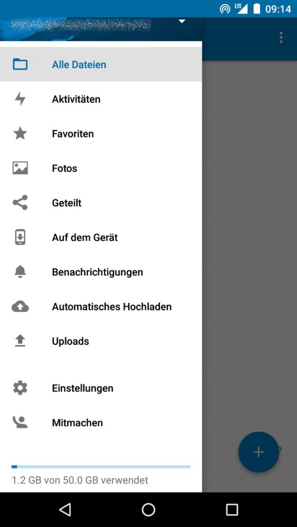 Nextcloud Android App 2.0 im Seitenleiste